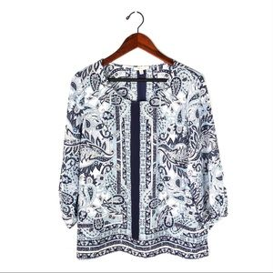 Anthropologie skies are blue blouse floral paisley